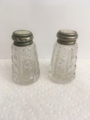 vintage, cut glass, sterling silver mother of pearl top, salt and pepper shakers