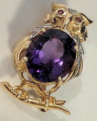 English Purple Amethyst Antique Owl Pin Brooch 14K Gold Ruby and Diamond Details