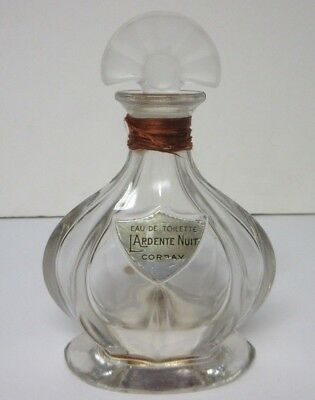 1930s L'Ardente Nuit Corday French Eau De Toilette Perfume Rare 3oz Empty Bottle