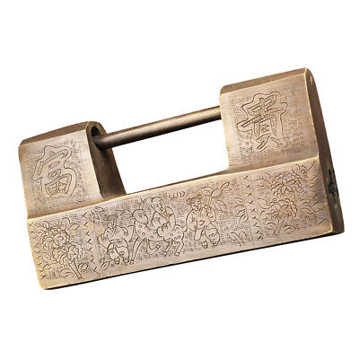 7'' Chinese Vintage Antique Copper Carved Word Padlock for Jewelry Box Lock