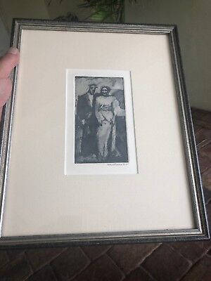 Rare Artist proof Pencil drawing by Ellie Stearns, 84 API. Man and woman