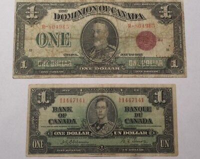 Canada One Dollar $1 Notes Currency 1923 1937 (M1)