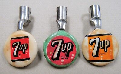 Three Vintage 7up Button Sign Pen Pencil Pocket Clip Advertisers