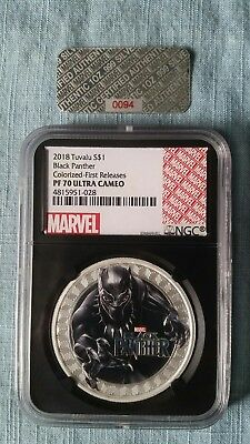 2018 Tuvalu BLACK PANTHER PF70 UC First Releases LOW COA #0094 Black Core Holder