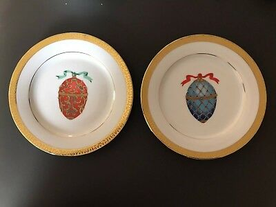 Gold Buffet Royal Gallery Faberge Egg Plate, Blue and Red 1991