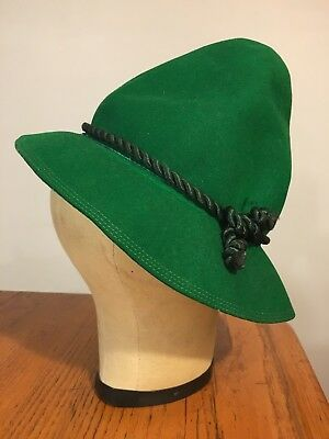 Vtg 40's-50's Ladies GREEN Alpine Hat w/ Silky Braid Robe Trim