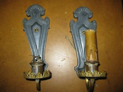 Pair 1920's Heavy Antique S & A Art Deco Wall Sconces Light Fixtures - Brass & ?