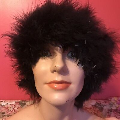 Vintage Art Deco Style Black Ostrich Marabou Feather Ladies Hat Beret Head Cover