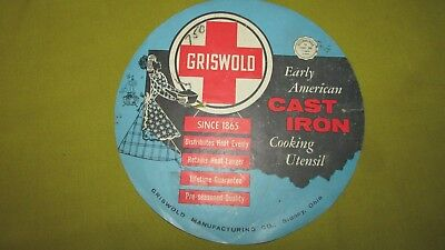 """Vintage Early 1900's Griswold Advertising Store Decal,8"""" Dia.,Griswold Decal,EXC"""