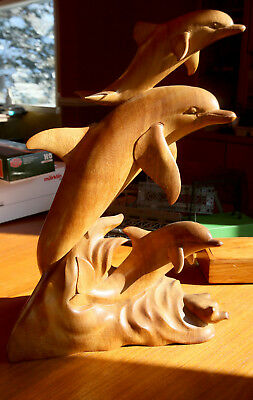 Dolphin Generation - Large Wood Sculpture Hand Carved