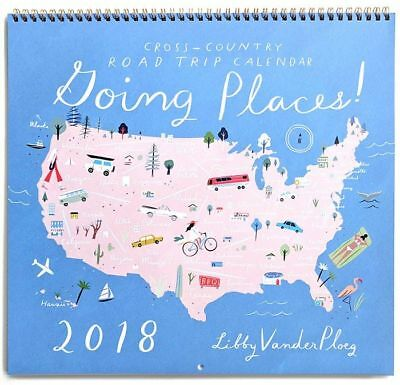 New/Sealed! Libby VanderPloeg Anthropologie Going Places 2018 Wall Calendar