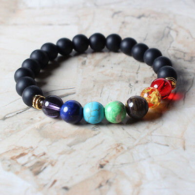 Natural Stone Bracelet Galaxy Solar System Eight Planets Theme Beaded Gift