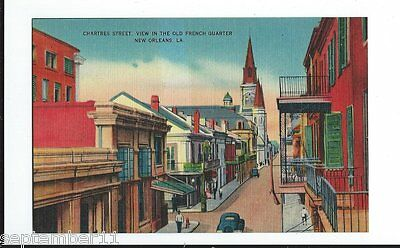 Postcard Chartres Street, Old French Quarter, New Orleans, LA. 1920-30's Cars