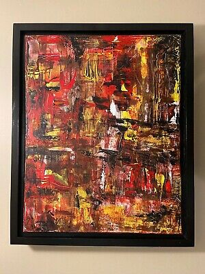 "Red and black abstract original modern acrylic canvas painting 16x20 16"" 20"""