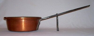 Antique Quality Copper HEARTH POT w/Long Wrought Iron Handle & Tin Lining