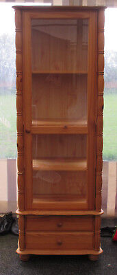 Pine Decorative Display Case Cabinet With 2 Drawers & 3 Shelves
