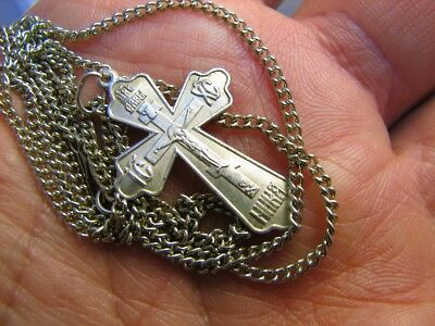 CRUCIFIXION SAVE & PROTECT PRAYER OLD VINTAGE STERLING SILVER CROSS w CHAIN #261