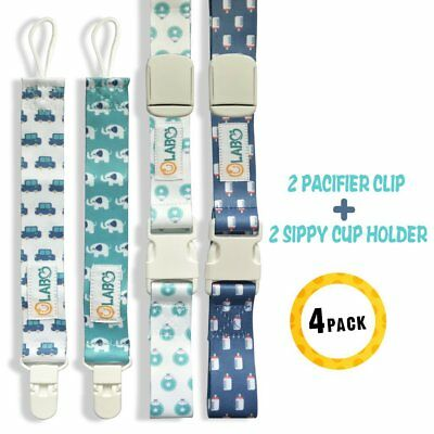Pack of 4 Universal Leash for Girl Boy Pacifier Clip Cup Holder Strap Adjustable
