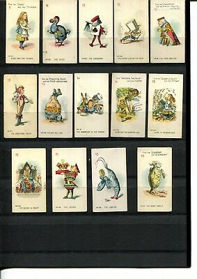 Cigarette Cards 1930 Carreras Part Lot ' Alice In Wonderland' X 14 Cards