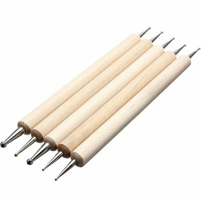 5 Pcs Wooden Ball Stylus Dotting Tools Embossing Pattern Clay Pottery Doll