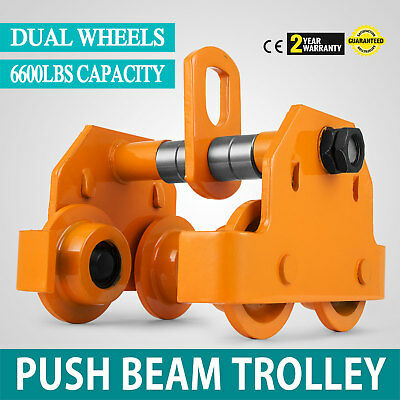 Brand New 3 Ton Push Beam Trolley Fits Straight Or Curved I-Beams