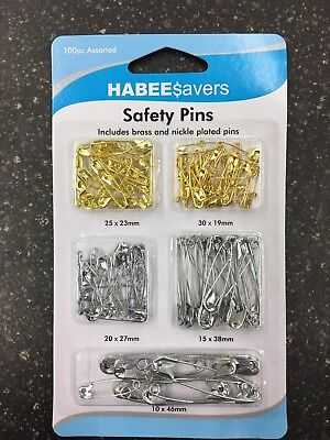 Safety Pins Mixed Size 100pcs 19mm 23mm 27mm 38mm 46mm Sewing Craft Jewellery