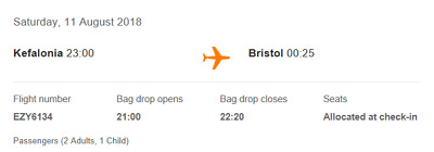 1 seat for Kefalonia to Bristol Easyjet Flight 11th August 2018