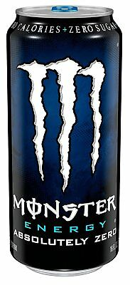 Monster Energy Drink, Absolutely Zero, 16 Ounce Pack of 24