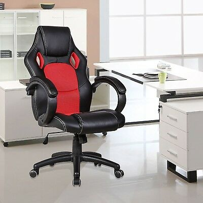 Office Chair Computer Desk Racing Gaming High Back Headrest Recliner - Red