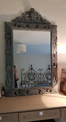 Stunning Large Antique French 19th C painted solid carved OAK Mirror with crest