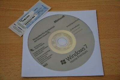 Windows 7 Home Premium 32Bit CD Hologramm mit SP1 + Win 7 Prem DELL Lizenz Key