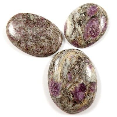 204.15 cts 100% Natural Ruby In Quartz Gemstone Oval Cabochon 3 Pc Wholesale Lot