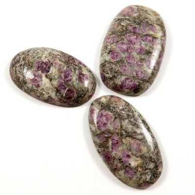 330 cts 100% Natural Ruby In Quartz Gemstone Oval Cabochon 3 Pcs Wholesale Lot