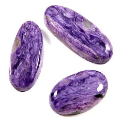 81.90 cts 100% Natural Gemstone Charoite Oval Loose Cabochon 3 Pcs Wholesale Lot