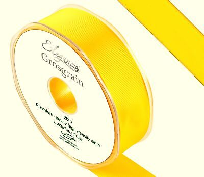 Premium Quality Yellow Cut Length Double Sided Grosgrain Ribbon 5 Widths