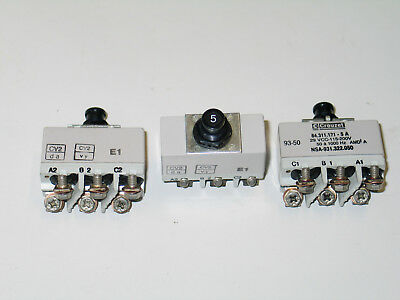 Lot of 3 NOS Crouzet Circuit Breaker 3 Pole Switch Aircraft 5 Amp Cockpit Switch