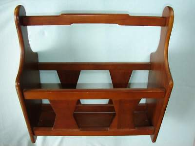 Nice WOOD MAGAZINE ORGANIZER RACK Newspaper STAND For HOME OFFICE Vintage EUC