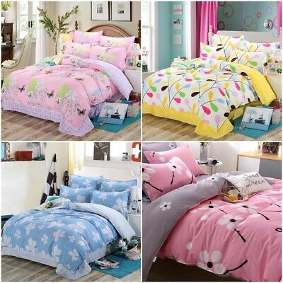 Duvet Cover Bedding Comforter Quilt Printed Cotton Twin Pillowcase Flat Sheet