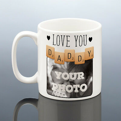 LOVE YOU DADDY PHOTO MUG Personalised Birthday Gift New Dad Scrabble Cup Present