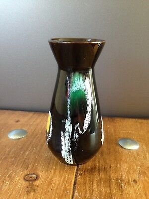 MID CENTURY 70s FOHR KERAMIK BLACK WHITE YELLOW RED GREEN BUD VASE 330 12 GERMAN