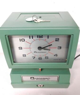 WORKS!! ACROPRINT TIME CLOCK Model 150NR4 w/key in great condition 150