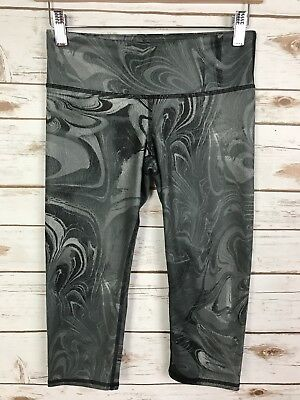 Alo Black Marble Airbrushed Yoga Cropped Capris XS Women's