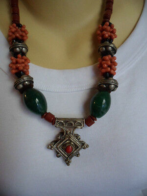 VINTAGE MOROCCAN TRIBAL SILVER OLD TUAREG CROSS PENDANT and GLASS BEAD NECKLACE