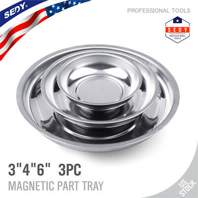 """Magnetic Parts Tray Dishes Storage Holder Circular Round Stainless Steel 6/"""""""