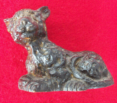 "Antique Vintage LEOPARD Wooden / Wood Seated Figure 3-1/2"" Long"