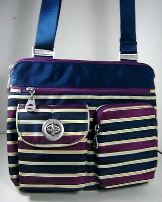078be435fe BAGGALLINI Sydney Silver Navy White Multiple Stripe Crossbody Xbody Bag NWT