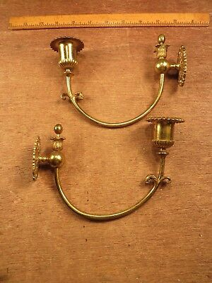 2 Matching Vintage Ornate Solid Brass Wall Sconces / Candle Holders