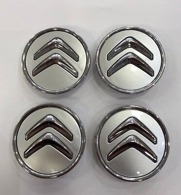 4x 60mm SILVER CITROEN C1 ALLOY WHEEL HUB CENTRE CAPS