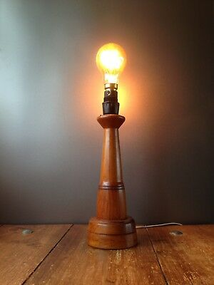 Vintage 60's 70's Wooden Teak Lighthouse Desk Table Lamp Base Mcm Retro Nautical