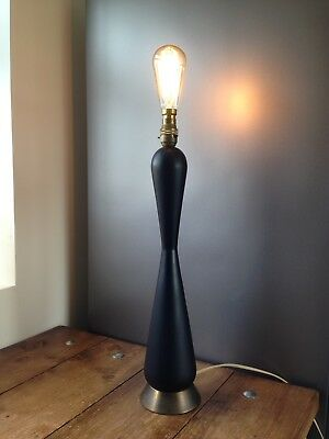 Tall 60'S Mid Century Modern Ebony Type Wooden Table Lamp Base Bronze Designer